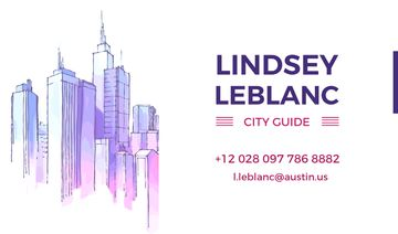 City Guide Ad with Skyscrapers in Blue