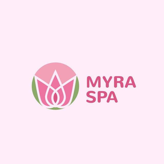 Plantilla de diseño de Spa Center Ad with Lotus Flower Logo