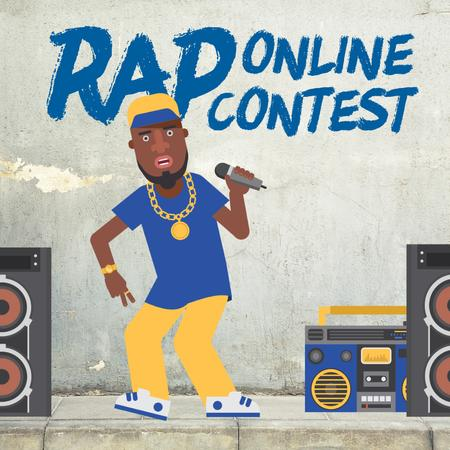 Rap Contest Announcement with Man Performing with Microphone Animated Post Modelo de Design