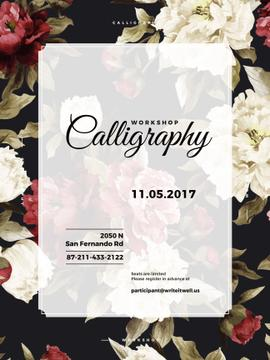 Calligraphy Workshop Announcement Spring Flowers
