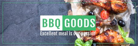 Ontwerpsjabloon van Email header van BBQ Food Offer with Grilled Chicken
