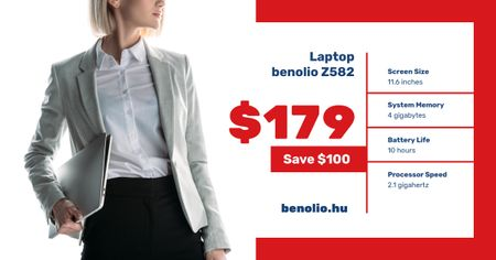 Computers Sale Woman with Laptop Facebook AD – шаблон для дизайну