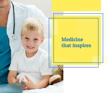 Clinic Promotion Kid Visiting Pediatrician | Large Rectangle Template