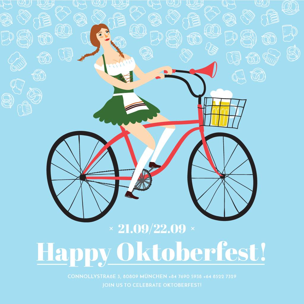 Girl in Oktoberfest costume riding bicycle — Modelo de projeto