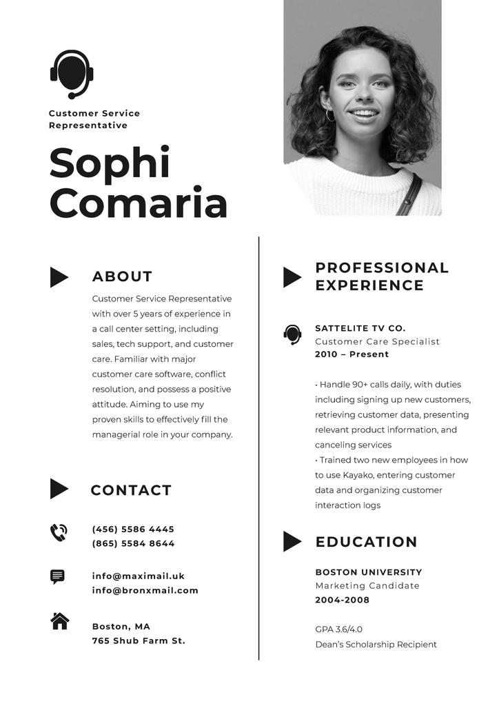 Professional Customers Service worker Profile — Modelo de projeto