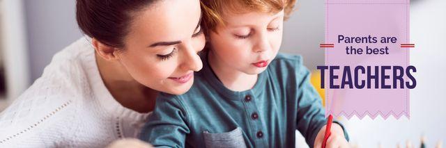 Plantilla de diseño de Home Education Mother Teaching Her Son Twitter