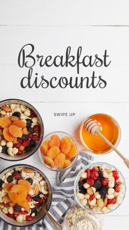 Plantilla de diseño de Breakfast Offer Honey and Dried Fruits Granola Instagram Story