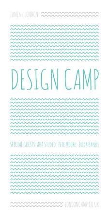 Plantilla de diseño de Design camp announcement on Blue waves Graphic