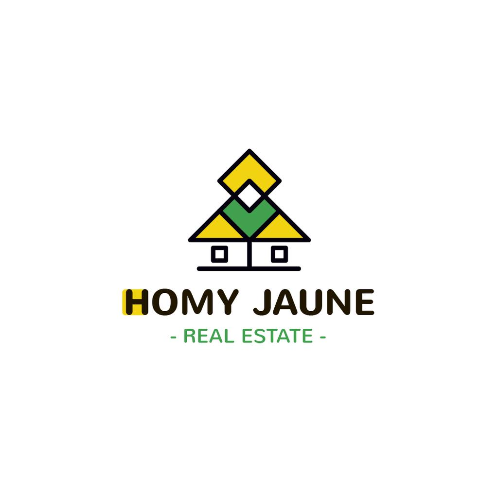 Real Estate Agency Ad Building Icon in Yellow | Logo Template — Créer un visuel