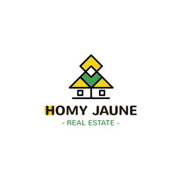 Real Estate Agency Ad Building Icon in Yellow | Logo Template