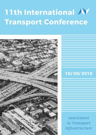 Ontwerpsjabloon van Flayer van Transport Conference Announcement City Traffic View