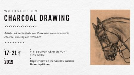 Drawing Workshop Announcement Horse Image FB event cover Modelo de Design