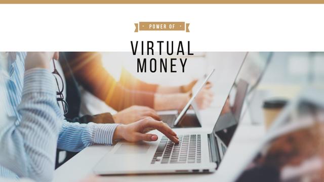 Virtual Money Concept with People Typing on Laptops Presentation Wide Tasarım Şablonu