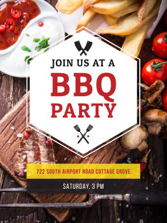 BBQ Party Invitation with Grilled Steak Poster US Modelo de Design
