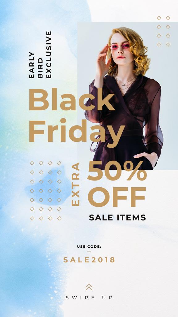 Black Friday Sale Woman Wearing Black Clothes | Stories Template — Maak een ontwerp