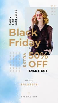 Black Friday Sale Woman Wearing Black Clothes | Stories Template