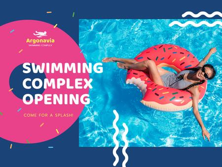 Designvorlage Swimming Complex Opening with Woman Relaxing on Floating Ring für Presentation