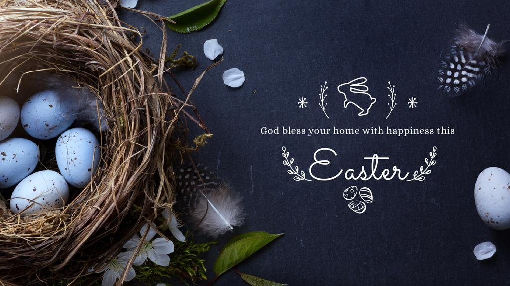 Easter Greeting with nest and eggs — Modelo de projeto