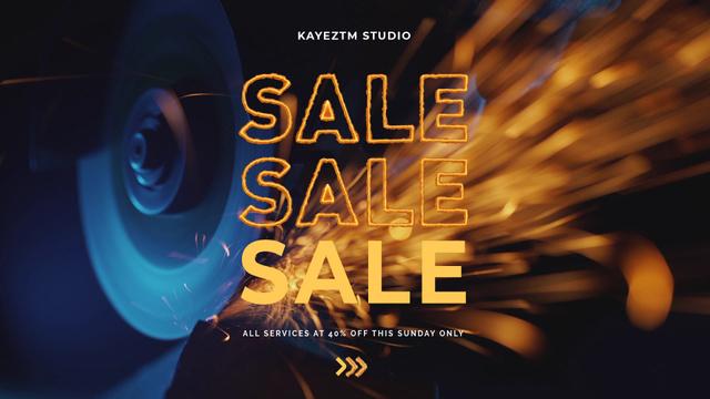 Sale Announcement Grinding Machine Sparks Full HD video – шаблон для дизайну