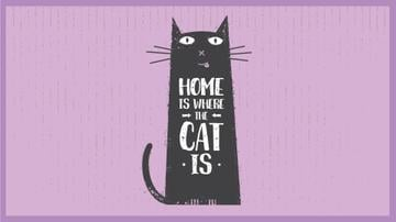 Funny Black Cat Purple Background