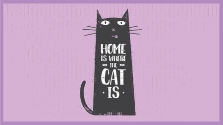 Designvorlage Funny Black Cat Purple Background für Full HD video