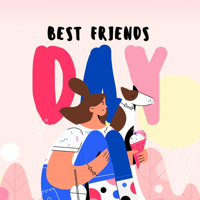 Template di design Best Friends Day with Girl and Dog Eating Ice-Cream Animated Post