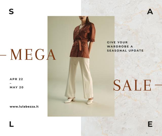 Fashion Sale Woman wearing Clothes in Brown Facebook Tasarım Şablonu