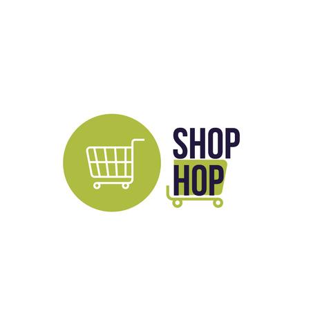 Ontwerpsjabloon van Logo van Shop Ad with Shopping Cart in Green