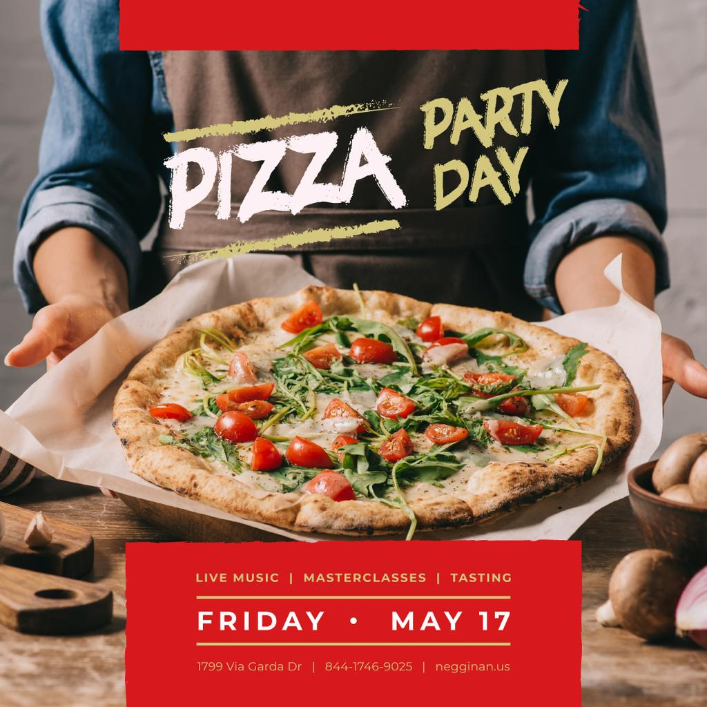 Pizza Party Day with Chef holding Pizza — Créer un visuel