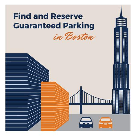 Parking Ad with cars in City Instagramデザインテンプレート