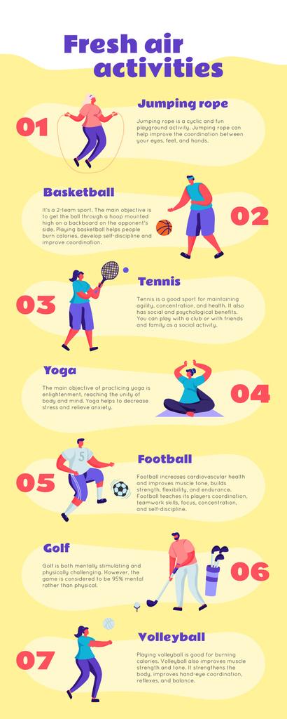 List infographics about Fresh air activities — Modelo de projeto