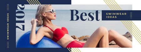 Ontwerpsjabloon van Facebook cover van Young girl in bikini
