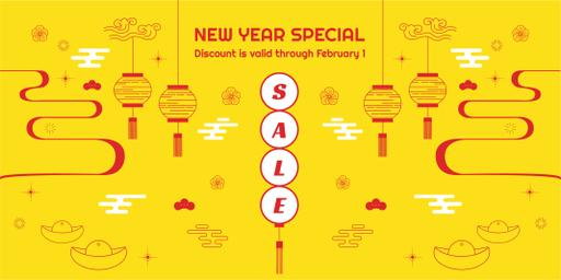 New Year Sale With Chinese Style Attributes TwitterPost