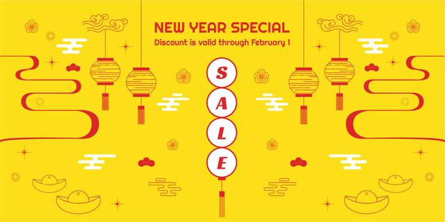 Ontwerpsjabloon van Twitter van New Year Sale with Chinese Style Attributes