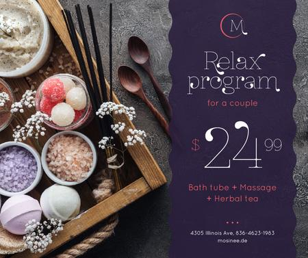Template di design Spa Program promotion Coarse Salt and Flowers Facebook