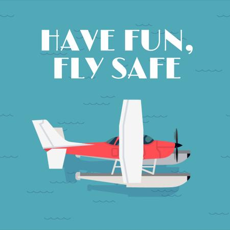 Seaplane landing on water surface Animated Post Modelo de Design