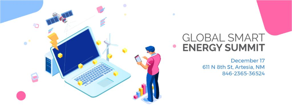 Man by laptop with renewable energy icons — Crear un diseño