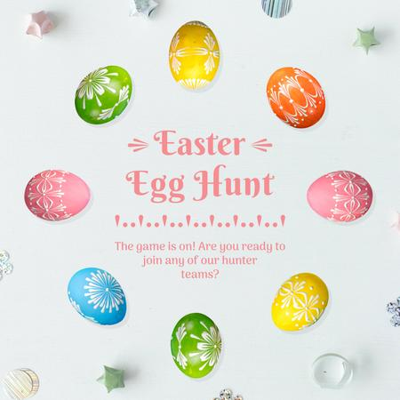 Coloured Easter eggs in Circle Animated Post Design Template