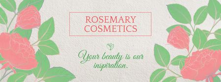 Plantilla de diseño de Cosmetics Shop Offer with Flowers Facebook cover