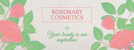 Designvorlage Cosmetics Shop Offer with Flowers für Facebook cover