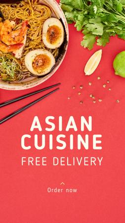 Asian Cuisine Free Delivery Offer Instagram Story Modelo de Design