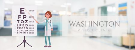 Modèle de visuel Female ophthalmologist in clinic - Facebook Video cover