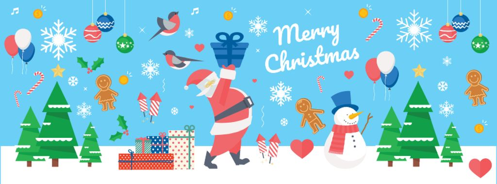 Christmas Holiday Greeting with Santa Delivering Gifts —デザインを作成する