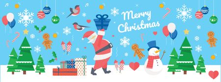 Plantilla de diseño de Christmas Holiday Greeting with Santa Delivering Gifts Facebook cover