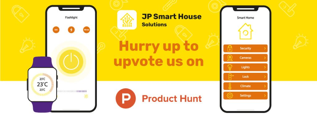 Product Hunt Launch Ad with Smart Home App on Screen — ein Design erstellen