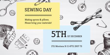 Template di design Sewing day event Twitter
