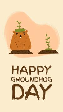 Happy Groundhog Day Cut Funny Groundhogs | Vertical Video Template