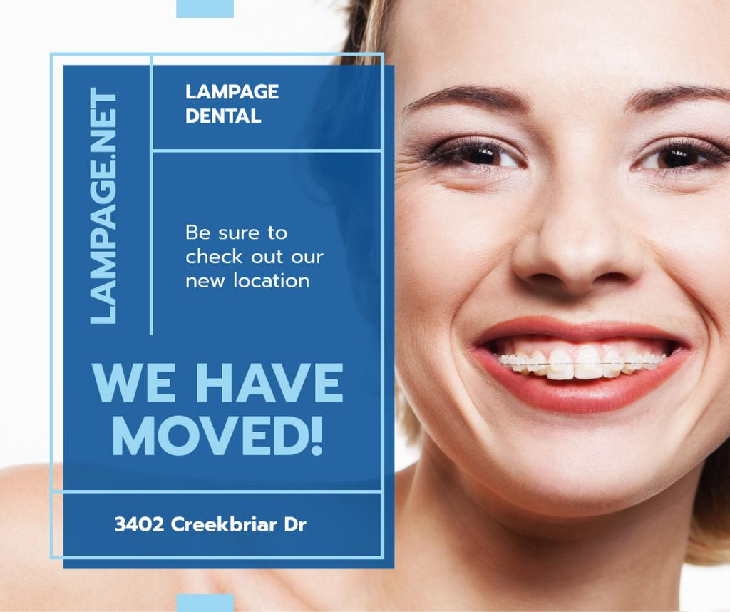 Dental Clinic Promotion Woman in Braces Smiling | Facebook Post Template — Создать дизайн