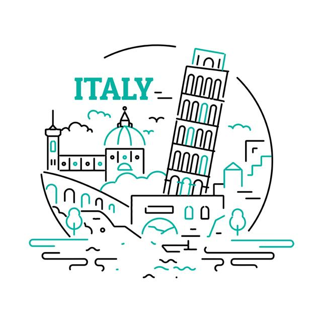 Designvorlage Italy famous travelling spots für Animated Post