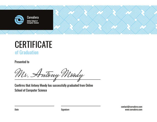 Template di design Online Computer School Graduation in blue Certificate